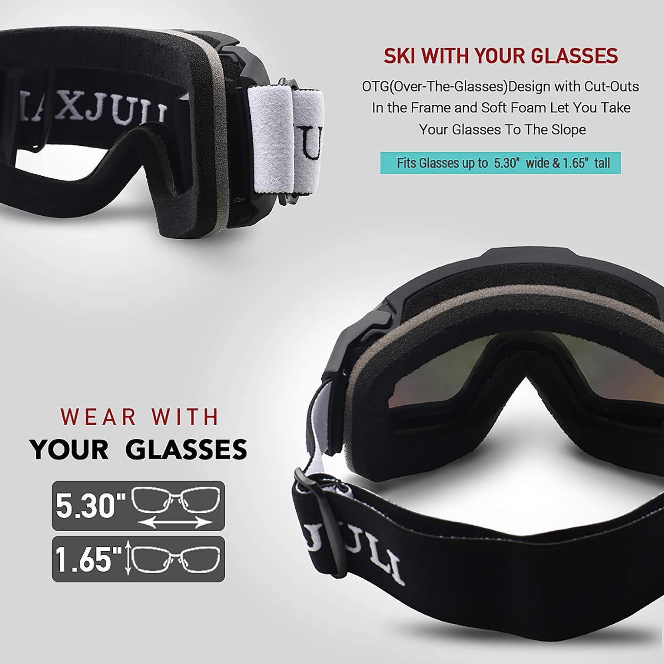 Juli/® Skibrille,Winter Schnee Sport Snowboardbrille Mit Anti-Nebel UV Schutz Austauschbar Sph/ärische Doppelte Linse f/ür M/änner Frauen /& Jugend Schneemobil