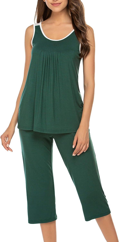 Hotouch Pajamas Set Womens Cute Printed Pjs Tank Tops with Capri Pants Soft Sleepwear S-XXL