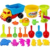 Beach Toys, Finer Shop 21 Pieces Beach Sand Toys Set with Mesh Bag for Kids Babies - Color Random