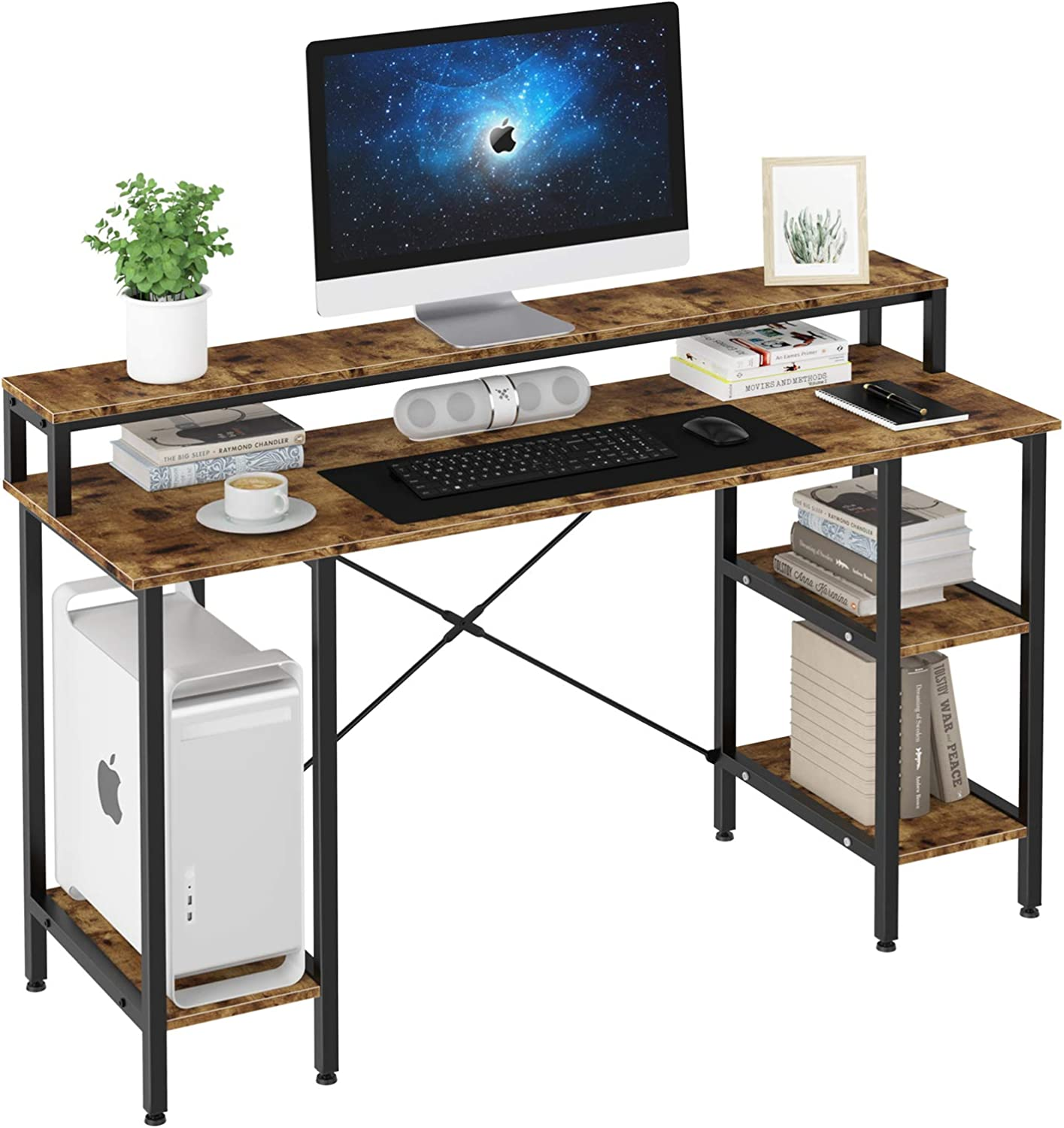 """Oneinmil Industrial Computer Desk 55"""", Mid-Century Retro Sturdy Study Writing Table Desk, Heavy Duty for 200 lbs, w/Storage Shelf Monitor Stand, Office Home Small Space Saving"""