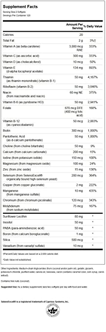 Amazon.com: Swanson High Potency Softgel Multivitamin Iron Free 240 Sgels: Health & Personal Care