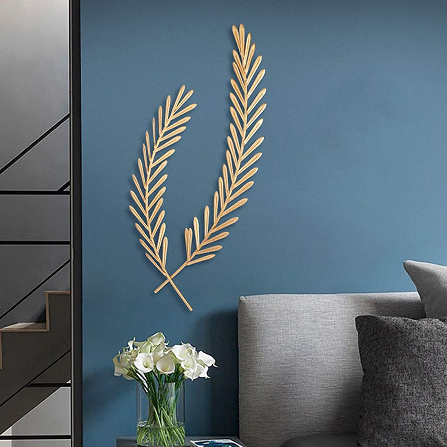 qwertyuio Wall Clocks for Living Room Leaf Wall Art Metal, Hanging Leaves Wall Decor for Living Room, Golden Wheat Leaf Artwork Sculpture, for Bathroom Bedroom Home Office