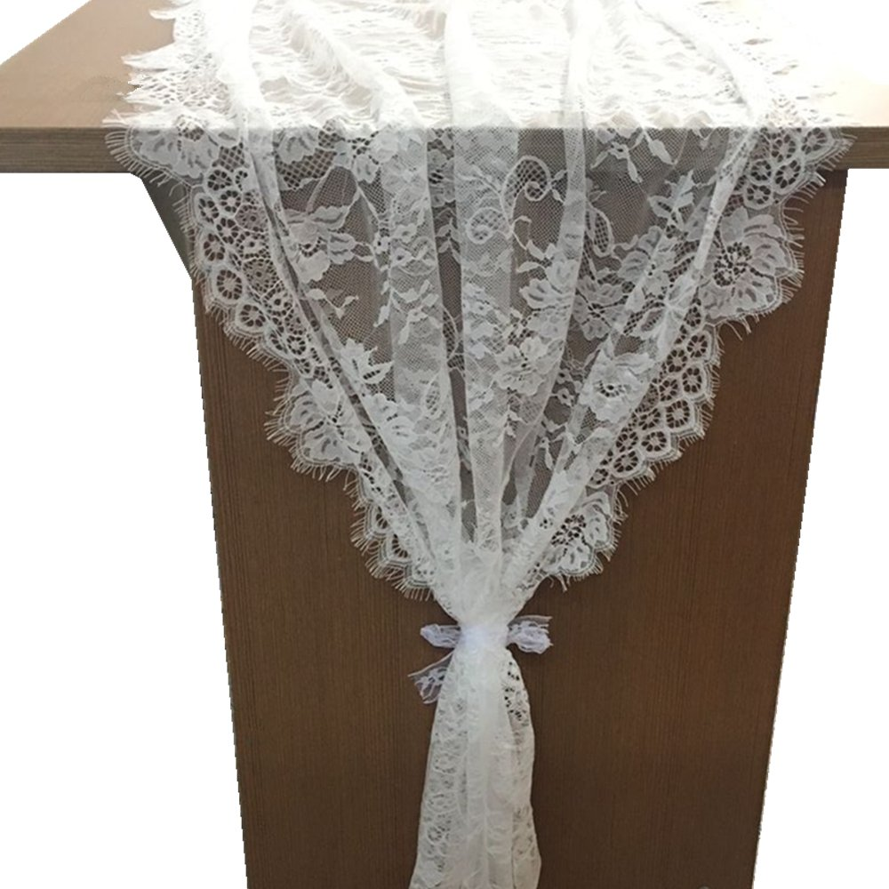 OZXCHIXU 1 Packs, 30''x120'' White Classy Lace Table Runner/Overlay, Spring Summer Decor Rustic Chic Wedding Reception Table Decor, Table Runner, Boho Party Decoration, Bridal Shower Decor
