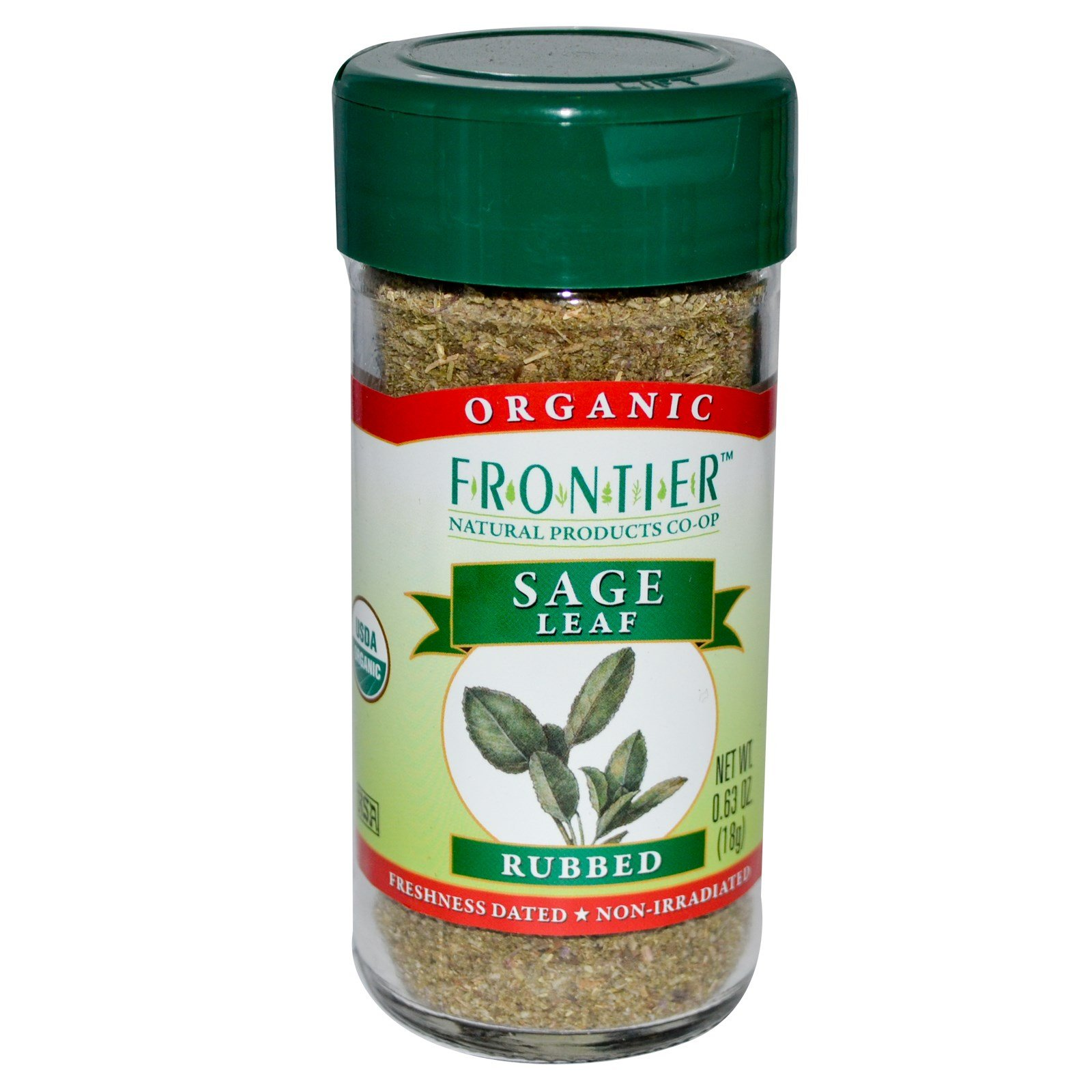 Frontier Natural Products, Organic Sage Leaf, Rubbed, 0.63 oz (18 g) - 2pcs