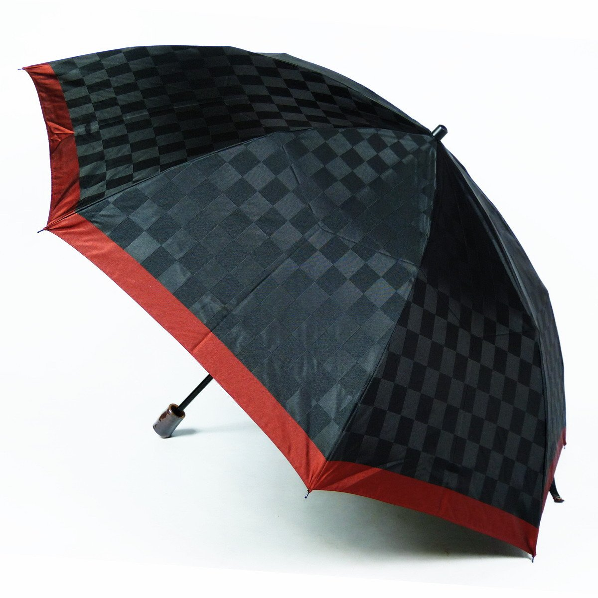 アスティ 傘 メンズ 折りたたみ傘 先染 ブロック 格子 2段式 親骨 60cm 日本製 16021 B077ZPDKVKブラック(A)