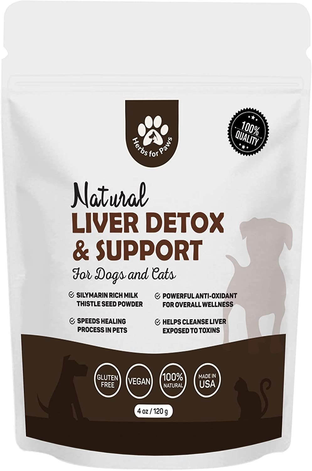 Dog Liver Detox Support, Milk Thistle for Dogs (120 GMS), Canine and cat Liver Support Powder Supplement Without Capsules, Pills - 4oz Bag