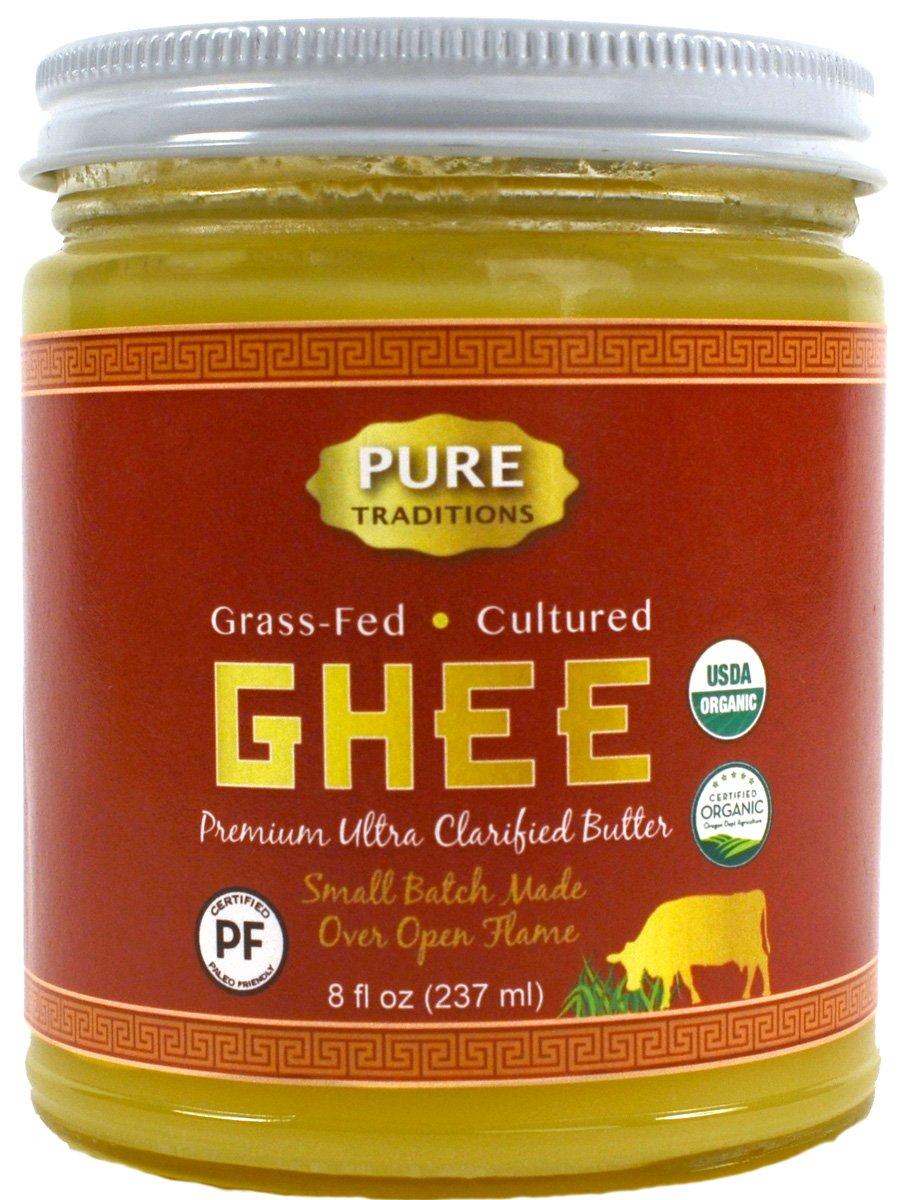 100% Organic Grass-Fed Cultured Ghee, Certified Paleo, 8 Fl Oz Jar (8 oz)