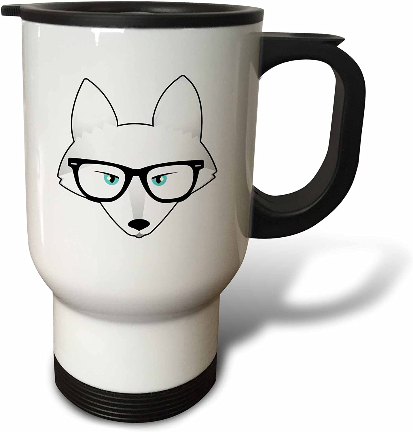 Amazon Com 3drose Cute Hipster Arctic Fox With Glasses Travel Mug 14 Ounce Stainless Steel Kitchen Dining