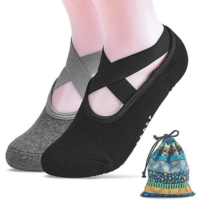 Yoga Socks for Women with Bag Non Slip Skid Slipper Socks Grips Pilates Ballet Barre Sock