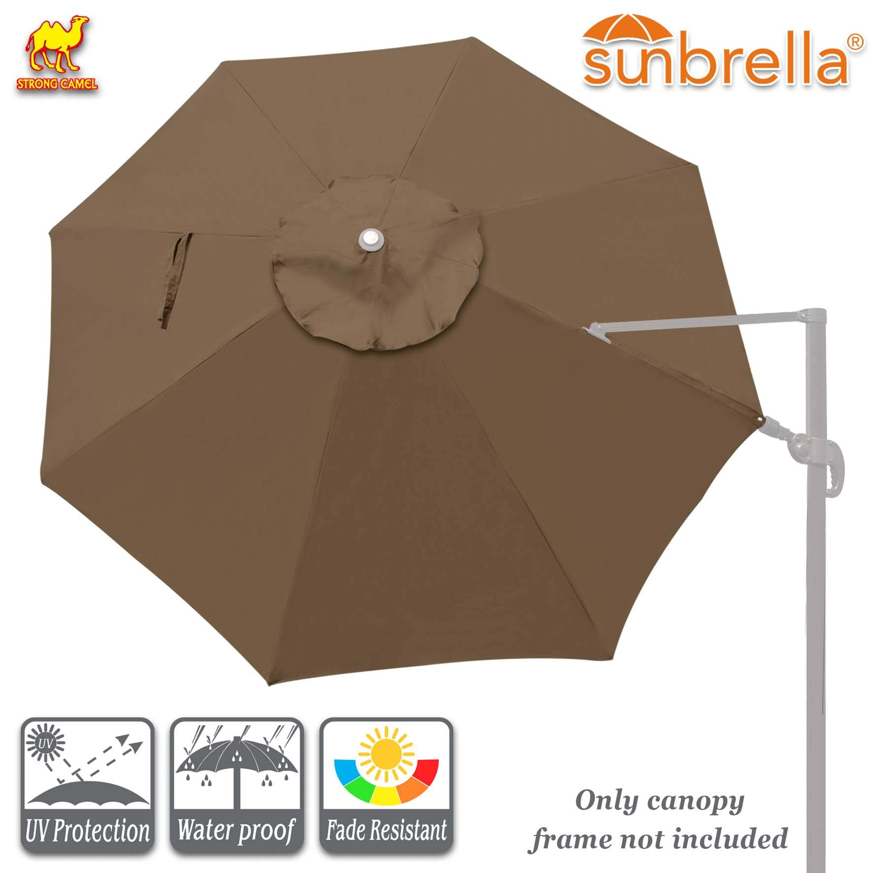 Strong Camel Universal Canopy Replacement Cover for 11.5' FT 8 Ribs Cantilever Patio Umbrella (Canopy ONLY) (Cocoa)