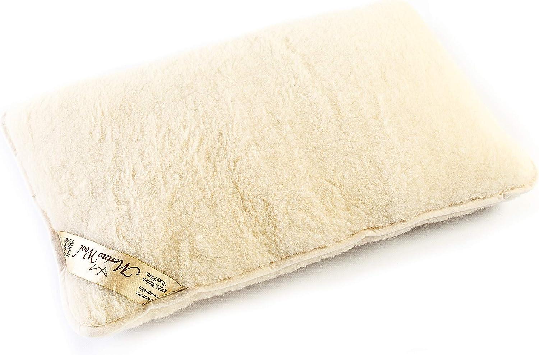 1x 100% Merino Lana Almohada 45 x 75 cm Lana WOOLMARKED. Estándar Almohada. Producto Natural 1x Wool Pillow