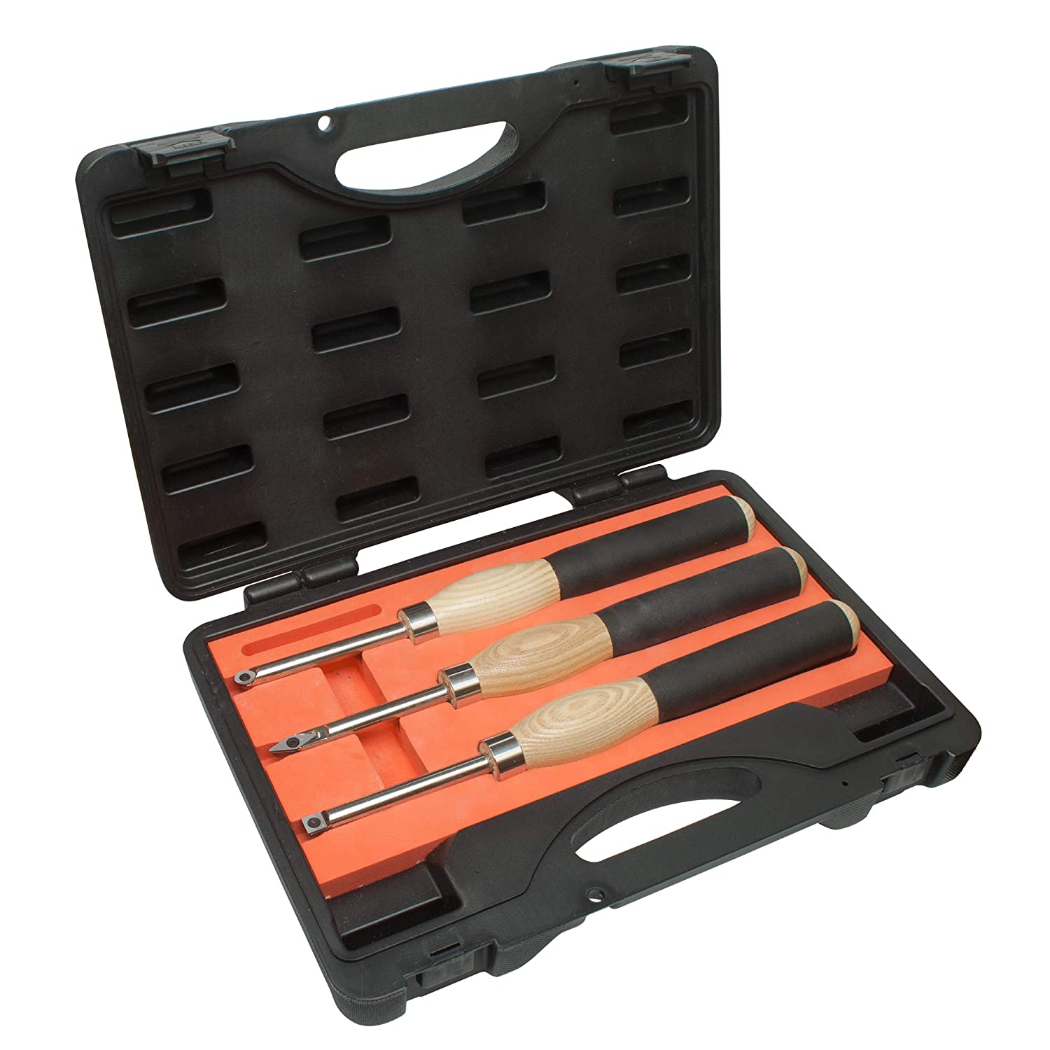 3 piece Carbide Mini Turning Tool Set With Foam Lined Case Perfect For Turning Pens Pencils Tops Goblets Acorns Bottle Stoppers or any Small to Mid-Size Turning Project (3pc Carbide Tool Set)