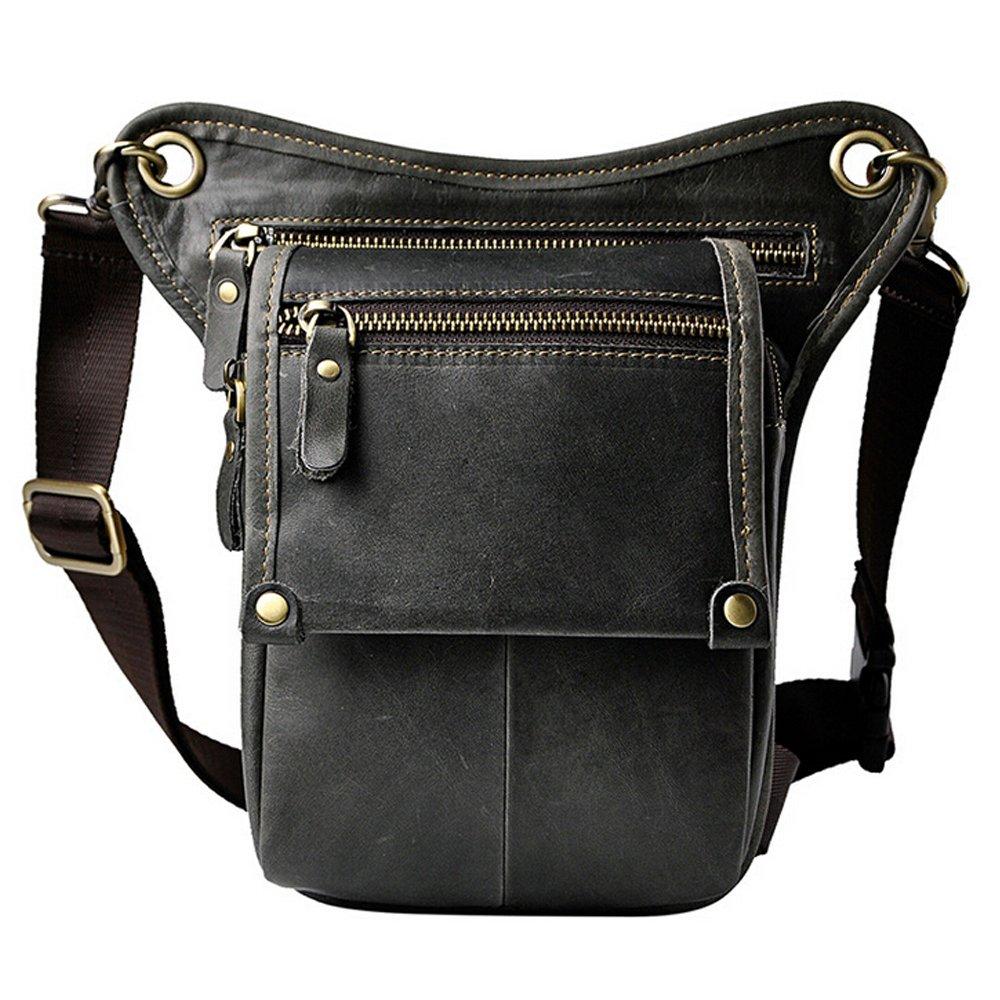Boshiho® para Hombre Piel Auténtica riñonera cintura cinturón gota pierna Cross Over Bag BOSHIHO-LEATHER- BAG-67
