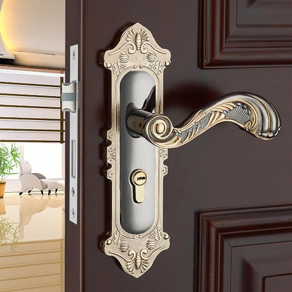 Jingzou Continental simple bearing lock interior bedroom door lock handle locks solid wood locks one lock hardware locks
