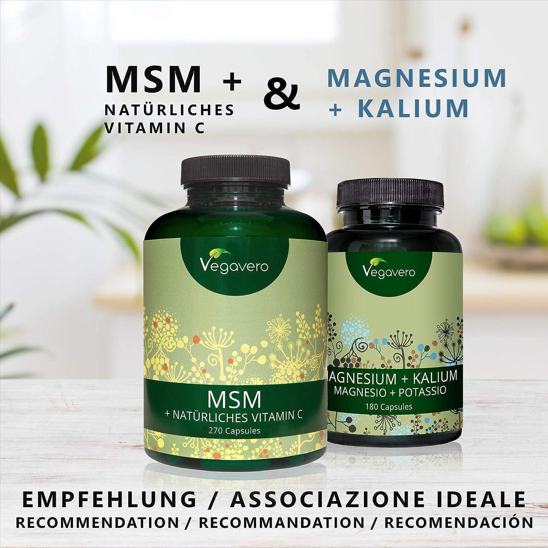 MSM 2100 mg con Vitamina C Natural | 99,9% PURO | Articulaciones y Dolor Muscular + Huesos + Formación de Colágeno | 270 Cápsulas | Sin Gelatina | Apto para ...
