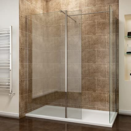 Walk In Shower With Flipper Panel.1400 X 800 Mm Walk In Shower Enclosure Panel 8mm Easy Clean Glass Wetroom Shower Glass Panel With Stone Tray And 300mm Flipper Panel