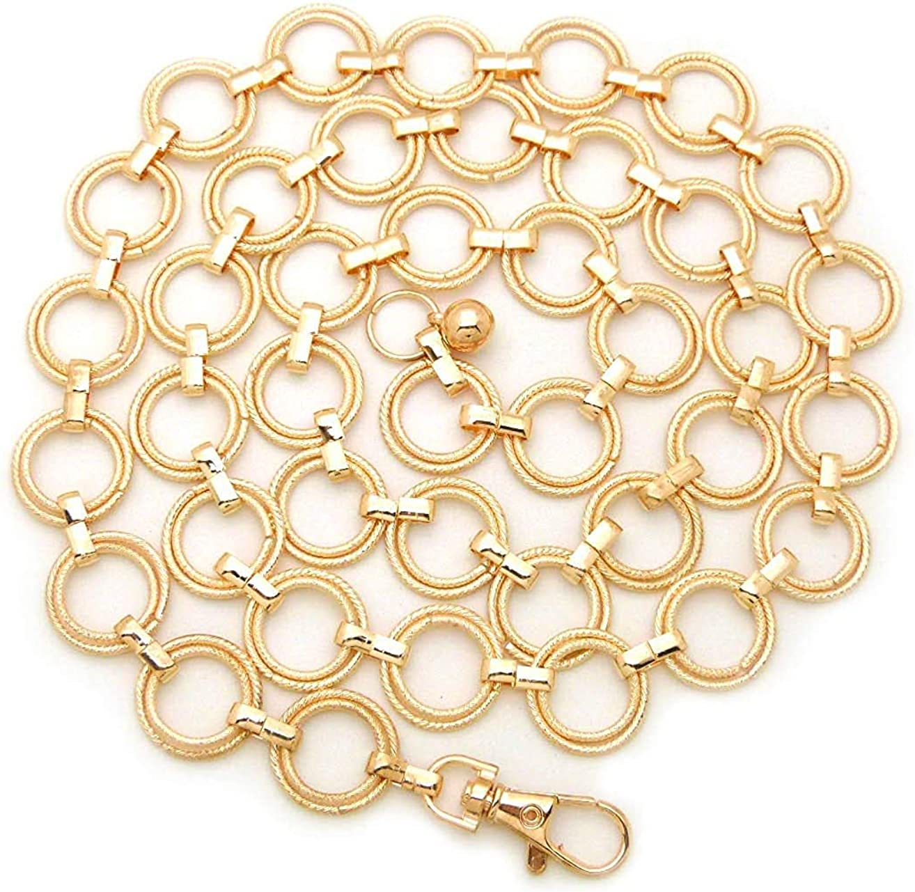Women's Polished O- Ring All Over Links Metal Link Chain Waist Fashion Belt