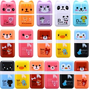 16 Pieces Cute Pencil Erasers Roller Pencil Erasers Cartoon Animal Pencil Eraser with Shaving Roller Case for Animal Themed Party Favor, Office Home School Gift Supplies, Random Colors