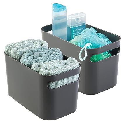mDesign Caja organizadora para baño – Organizador de baño para cosméticos, champú, loción,