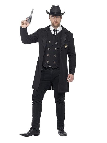 SmiffyS 26530L Disfraz De Sheriff Con Curvas Con Chaqueta Chaleco Corbata Y Sombrero, Negro, L - Tamaño 42