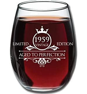 1959 60th Birthday Gifts For Women And Men Wine Glass