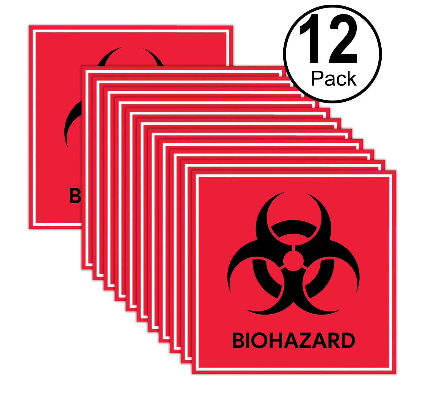 Hospitals Red Pack of 12 Biohazard Stickers Signs and Industrial Use | 4 X 4 Hazardous Materials Warning Label Stickers Decals Waterproof for Labs