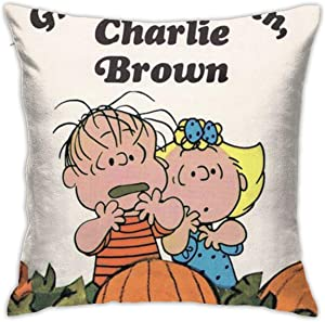 """It's Great Pumpkin Charlie Brown Throw Pillow Covers 18""""X 18""""Inch Square Shape Decorative Cushion Cover for Couch Sofa Pillow Set"""