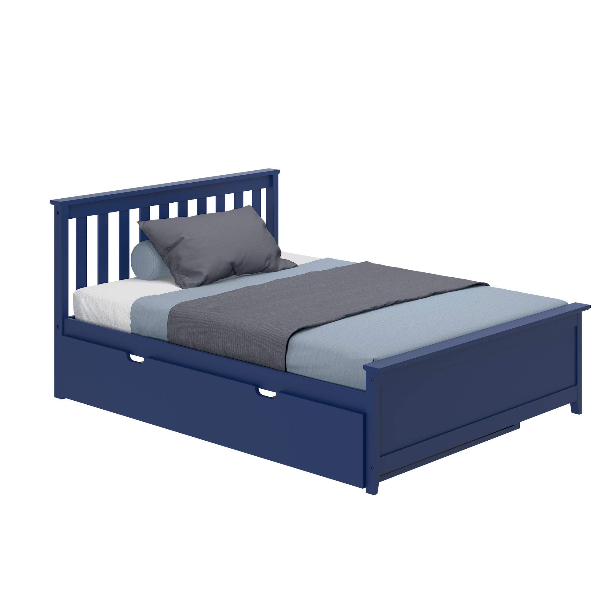 Max & Lily 186211-131 Solid Wood Full-Size Trundle Bed, Blue Platform, by Max & Lily