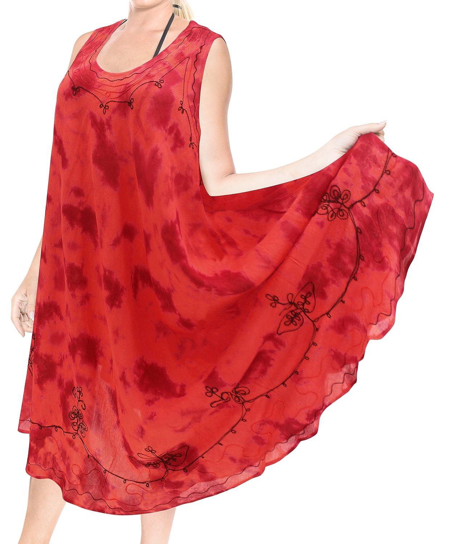 LA LEELA de un tamaño más Mujeres de Playa Vestido de Verano Encubrimiento Empate ARI Tinte Viscosa de Color Rojo: Amazon.es: Ropa y accesorios