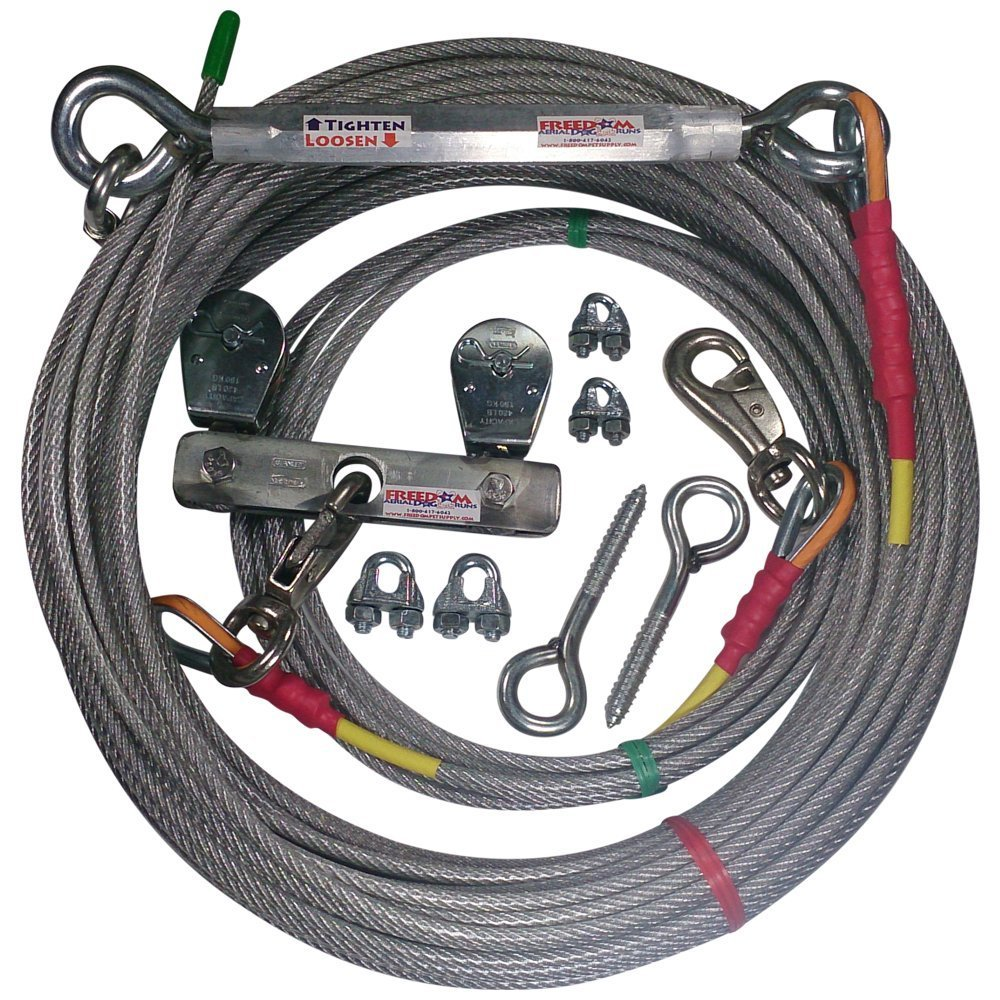 Freedom Aerial Dog Runs Super Heavy Duty (Lead Line Length 15 FT, Aerial Cable 50 FT)