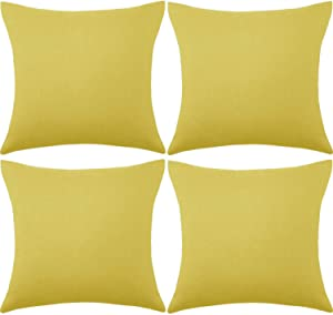 Set of 4 Decorative Outdoor Throw Pillow Covers,Patio Balcony Waterproof 18 x 18 Inches Square Pillow Cases,PU Coating Pillow Shell for Christmas,Garden,Cushion,Couch, Bed,Sofa (Golden Yellow)