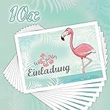 """10 EINLADUNGSKARTEN zum Kindergeburtstag """"FLAMINGO"""" / Poolparty, Gartenparty, Cocktailparty, Einladungskarten Flamingo"""