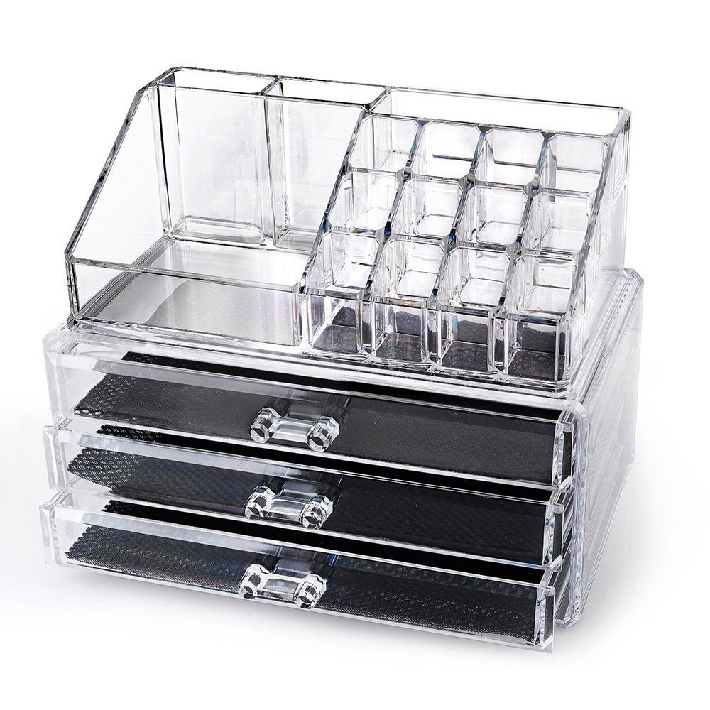 SortWise ® [DIY Buildable - L] Detachable 3 Drawers Acrylic Cosmetic Makeup Cosmetics Organizer Clear Storage Container Box Case Multipurpose / 9.4 X 7.5, 2 pieces set (19 Grids / Compartments Sections, Transparent)