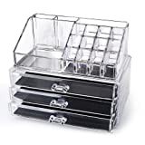 Amazon Price History for:Clear Acrylic Cosmetics Makeup Organizer 3 Drawers with 16 Compartments Top Section