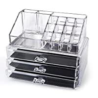 """SortWise ® [DIY Buildable - L] Detachable 3 Drawers Acrylic Cosmetic Makeup Cosmetics Organizer Clear Storage Container Box Case Multipurpose / 9.4"""" X 7.5"""", 2 pieces set (19 Grids / Compartments Sections, Transparent)"""
