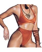Women Velvet Hollow Out Monokini Swimsuit Thong One Piece Swimwear Bodysuit