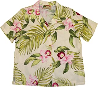 product image for Paradise Found Women's Orchid Corsage Palm Aloha Shirt, Cream, M