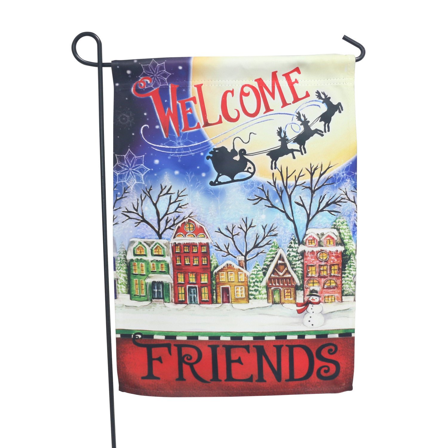 LAYOER Home Garden Flag 13 x 18 Inch House Double Sided Christmas EIK Winter Welcome Friends 12 x 18 inch