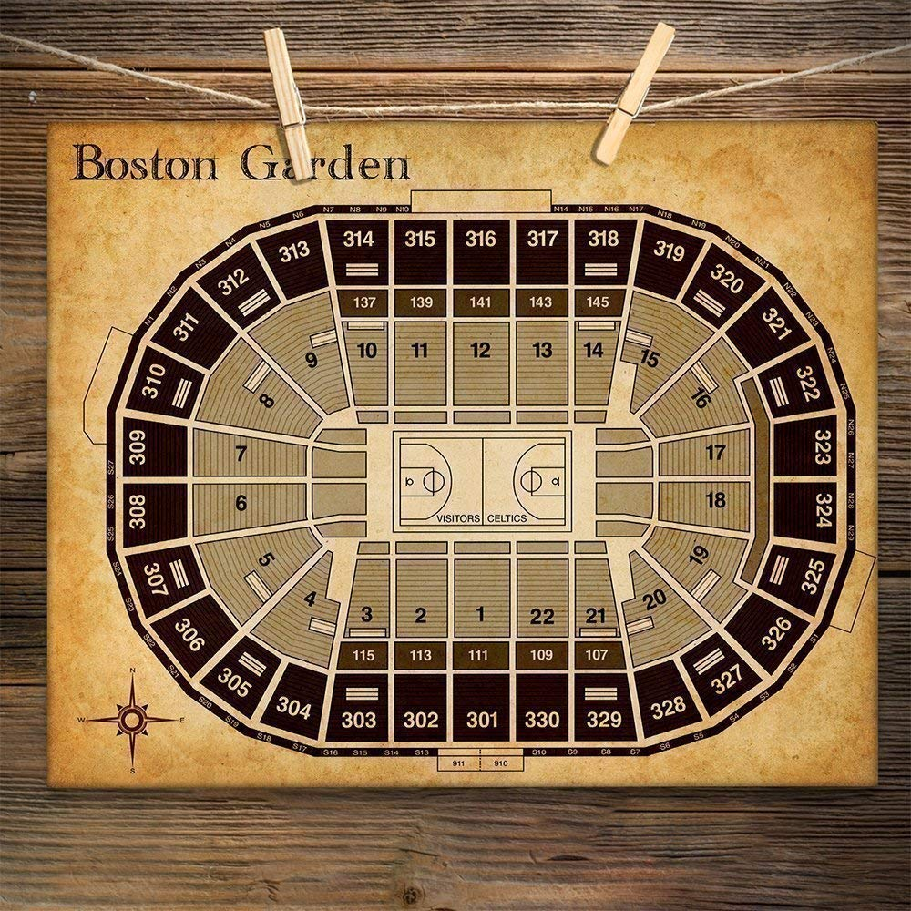 Boston Garden Basketball Seating Chart 11x14 Unframed Art Print Great Sports Bar Decor And Gift Under 15 For Celtics Fans