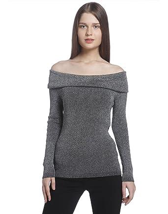 aa546a498fcb0 Vero Moda Women s Off Shoulder Blouse Black Silver (Small)  Amazon ...