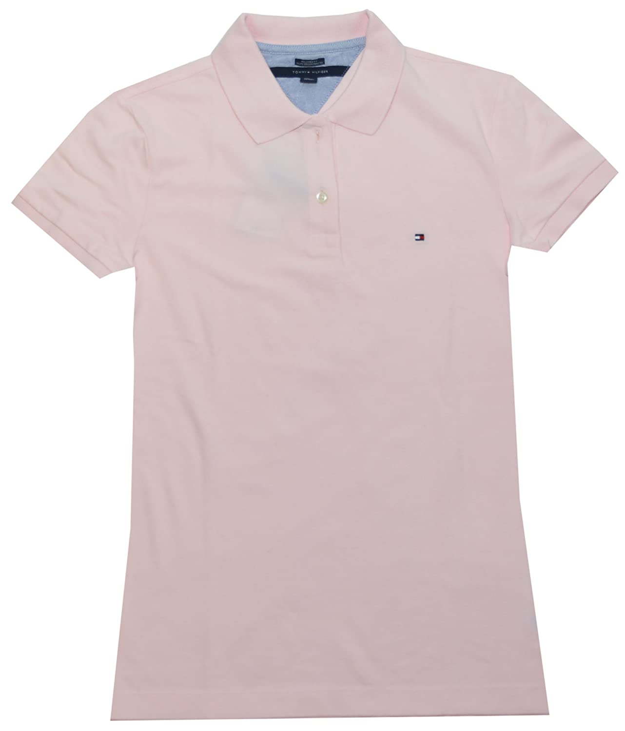 Tommy Hilfiger Women Easy Fit Logo Polo T-Shirt (L, Light Pink ...