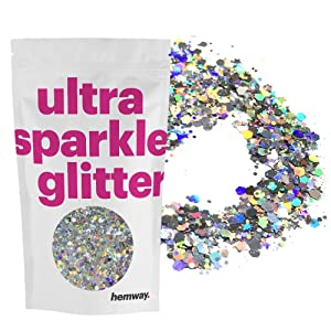 Hemway Silver Holographic Mixed Multi Chunky Glitter Purpose Dust Powder Arts Crafts Decoration Weddings Flowers Cosmetic Face Eye Body Skin Hair Festival 100g