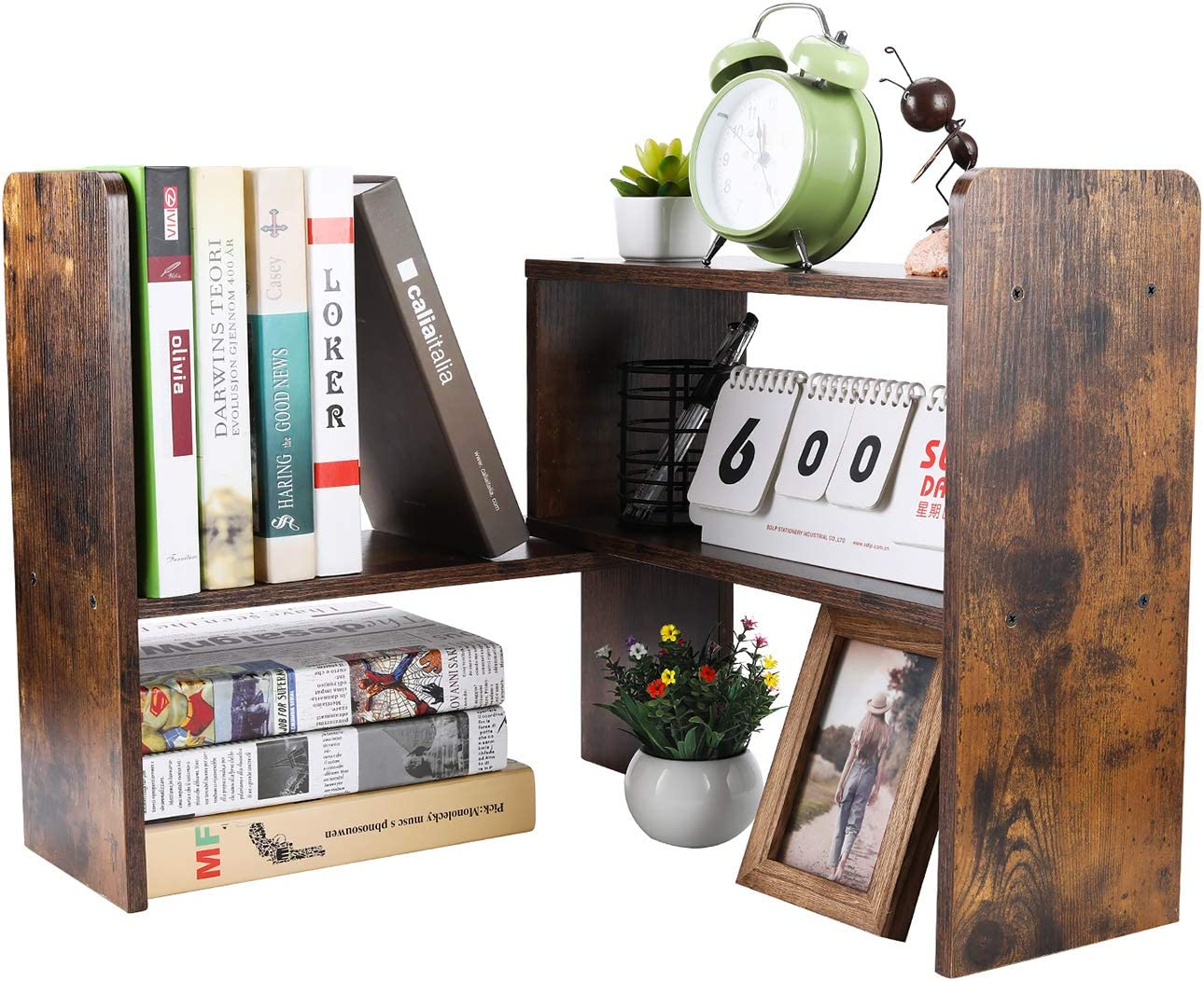 PAG Desktop Bookshelf Adjustable Countertop Bookcase Office Supplies Wood Desk Organizer Accessories Display Rack, Retro Brown