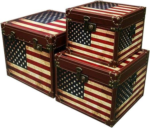 Maleta antigua 3 maletas Piezas de almacenamiento grande de madera ...