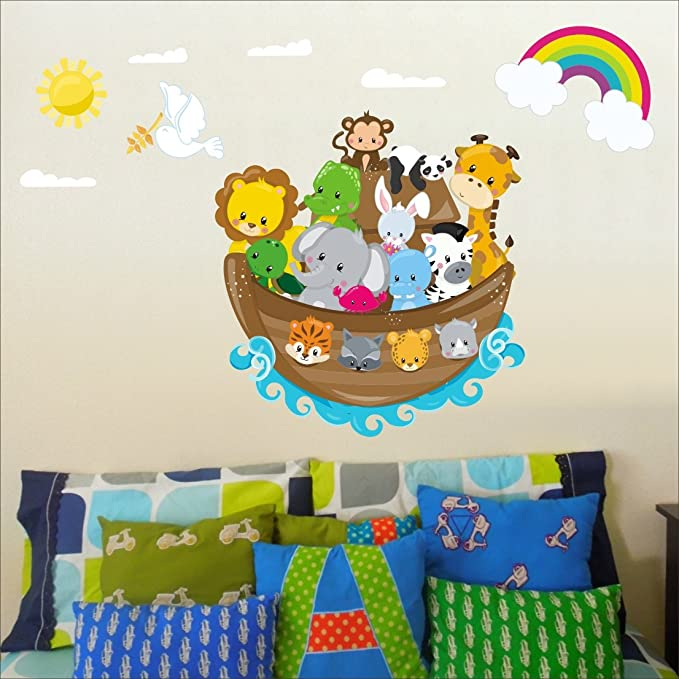 Noahs Ark adhesivo para pared adhesivo de pared guardería infantil pegatinas de pared, multicolor Art 208: Amazon.es: Bebé