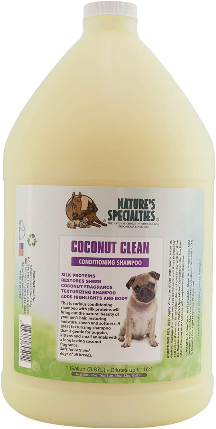 Nature's Specialties Coconut Clean Dog Conditioning Shampoo for Pets, Gentle Shampoo for Puppies and Kittens Made in USA Non-Toxic