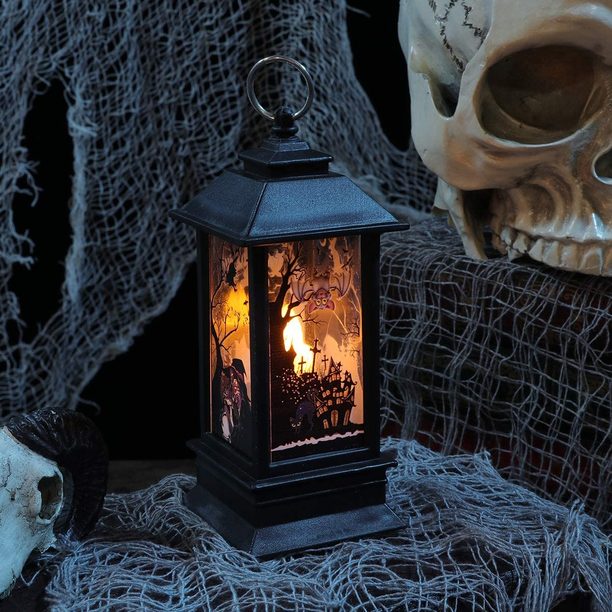 Simulation Kerosene Lamp Halloween Decorative Witch Pattern Lantern Portable Candle Light Party Props Size Small Party Favor