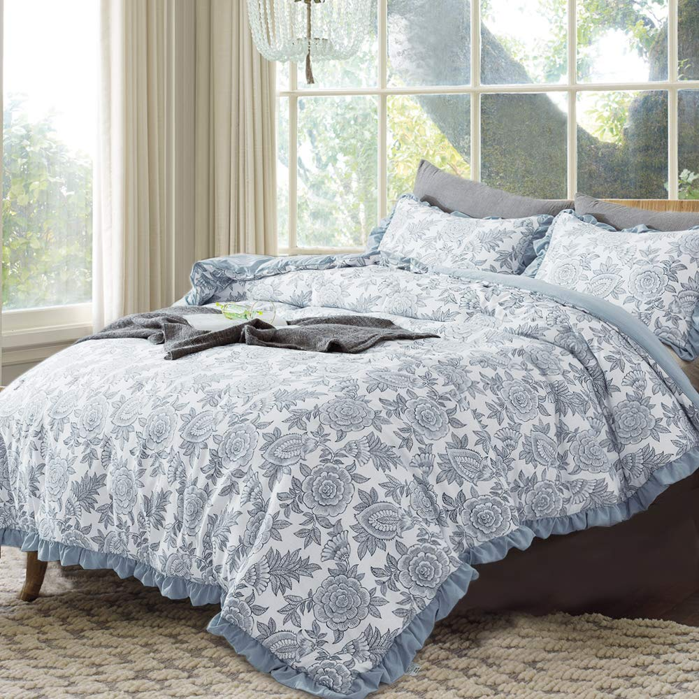 GOONE Quilt Sets with Thin Comforter and 2 Shams,Breathable Soft Lightweight Healthy Down Alternative Filling with Printed Pattern