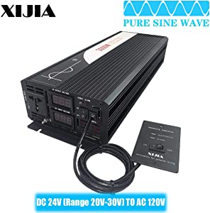 Xijia 3000W (Peak Power 6000W) Pure Sine Wave Inverter DC 12V 24V 48V to AC 120V 60HZ Solar Converter for Home Use car (DC24V to AC120V 3000W)
