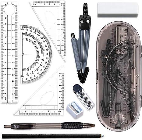 Kit de geometría, dibujo técnico y matemáticas, incluye regla, transportador, compás, brújula, portaminas, goma, lápiz de arcoíris y sacapuntas, juego de artículos de papelería de 14 unidades: Amazon.es: Oficina y papelería